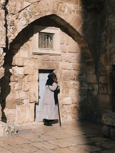Old man. Church of Holy Sepulchre, Jerusalem, Israel