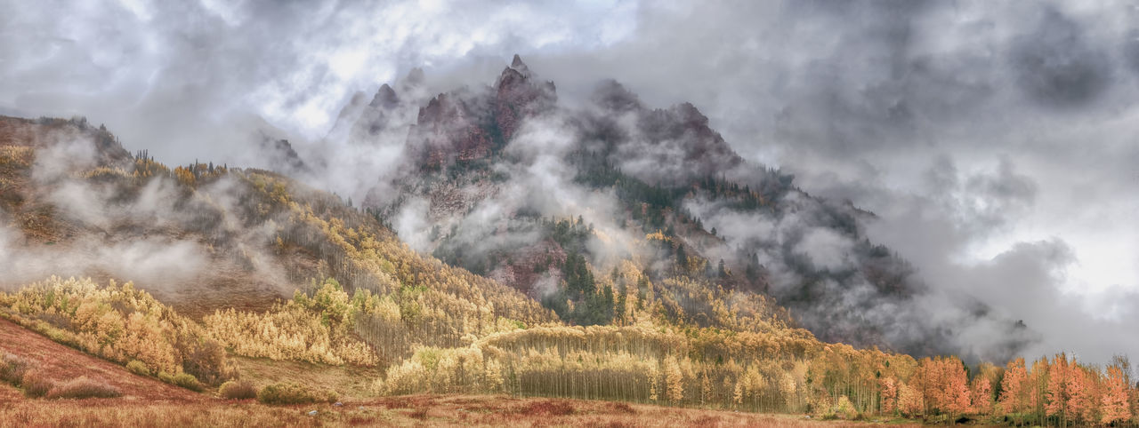 Mountain in Clouds Elk Mountains Aspen Autumn Beauty In Nature Cloud Colorado Fog Mist Morning Mountain Nature Outdoors Scenics Snowmass Wilderness Tranquility Tree