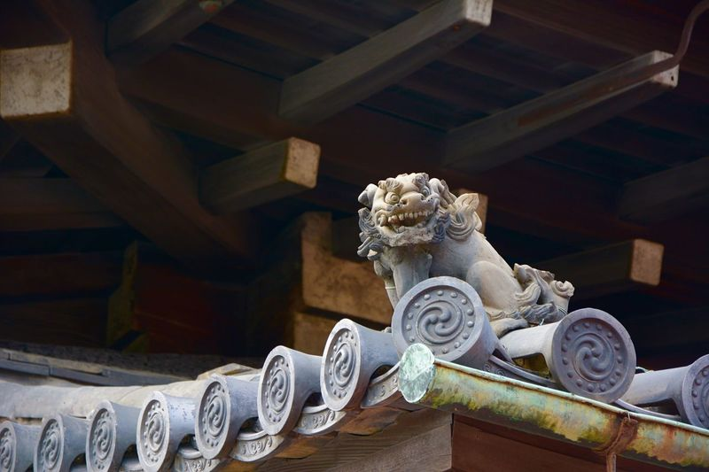 Gargoyle on roof of traditional building