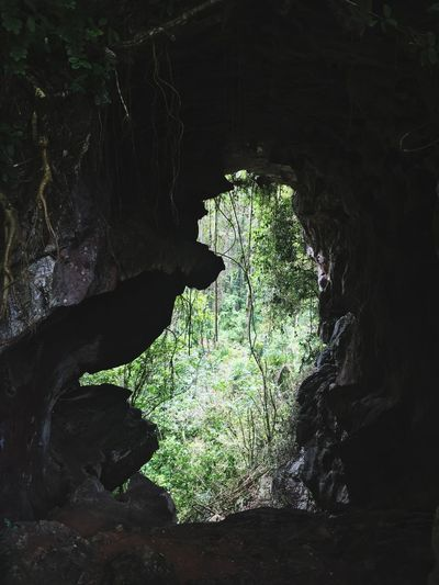 View of cave on rock formation