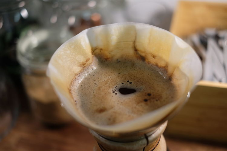 Glass coffee maker with filter paper and coffee