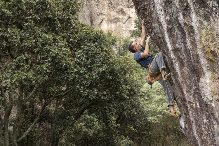 Man hanging on rock