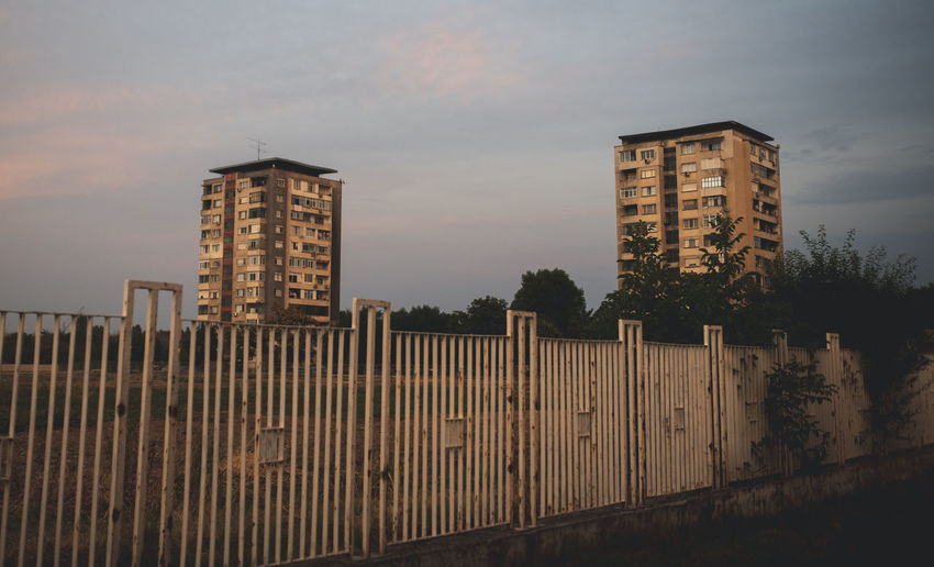 Eastern Europe Apartment Architecture Barrier Boundary Building Building Exterior Built Structure Bulgaria City Cityscape Cloud - Sky Dusk Fence Growth High Landscape Modern Nature No People Office Building Exterior Outdoors Sky Skyscraper Sunset