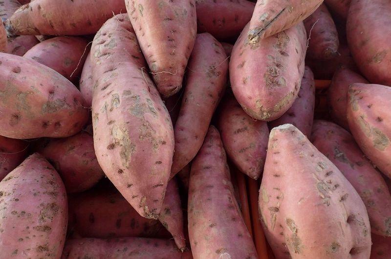 Full frame shot of sweet potatoes at market for sale