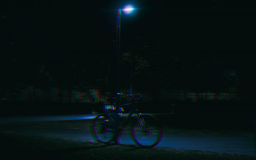 All Alone Bicycle Cinematic Photography Cinematography City Dark Empty EyeEm Best Edits EyeEm Best Shots Glitch Going Home Illuminated Left Behind Night No People Outdoors Park Parked Snapshots Of Life Street Light Summertime The Leftovers Vhsglitch Vienna Vienna_city