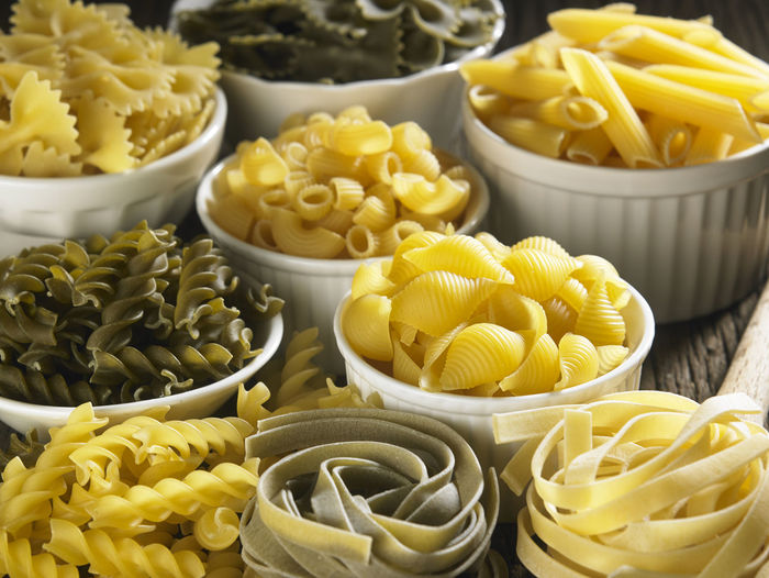 Close-up of fusilli pasta on table