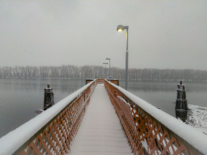 Winter Scenery EyeEm Selects Pier Railing Fog Lake Bridge - Man Made Structure Street Light The Way Forward Water Tranquility Day Outdoors EyeEmNewHere