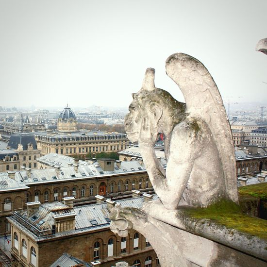 "I've just met le Stryge, the chimera or guardian demon overlooking Paris from the Notre Dame catherdral, whose name means ""vampyre"". The artist Charles Meryon gave it its shape, and architect Eugène Viollet-le-Duc gave it its physical presence during the renovation and restauration that started in 1843 and ended 21 years later. This chimera is not to be mistaken for a gargoyle, I'm told it gets very grumpy in a nasty way when it happens, it's best to avoid that grumpiness 😉❤️ Cathédrale Notre-dame De Paris Chimera Moments Paris"
