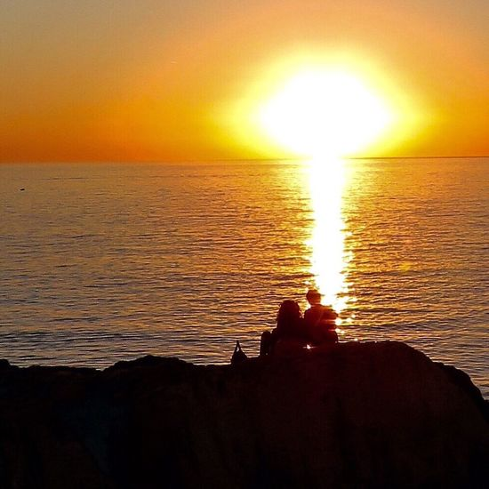 Sunset Water Orange Color Horizon Over Water Sun Tranquility Enjoying Life Hi! Nature First Eyeem Photo Sea Scenics Tranquil Scene Silhouette Beauty In Nature Idyllic Atmosphere Reflection Sky Seascape Vacations Majestic Vibrant Color
