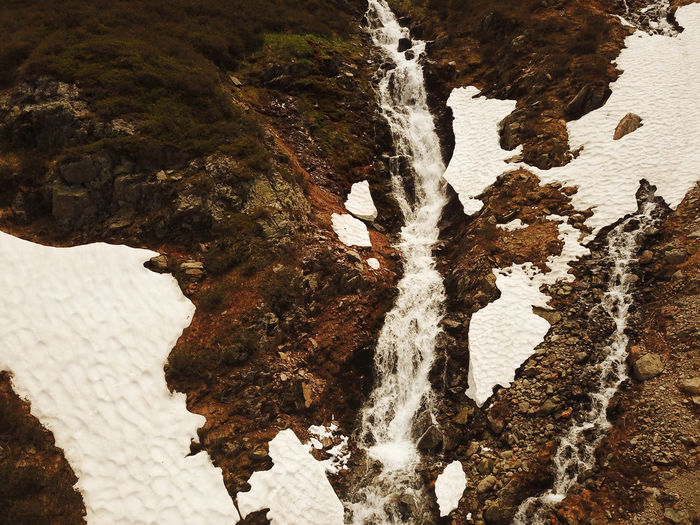 High angle view of rocks on snow covered land