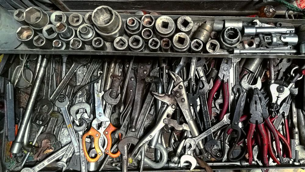 Large Group Of Objects Toolbox Tool Toolkit Used Tools Work In Progress Work Space Workshop Workplace Tool Background Tool Kit