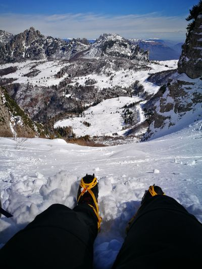 Personal Perspective Snow Winter Mountain Cold Temperature Human Leg Adventure Winter Sport Outdoors Nature