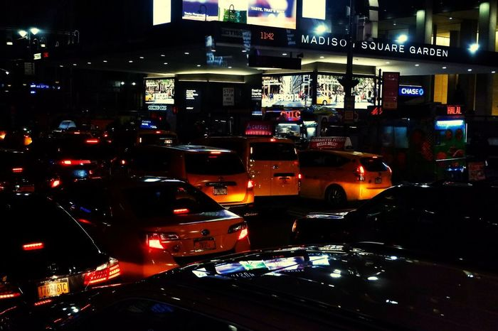 Midnight Rides in NYC New York Madison Square Garden Taxi City Illuminated Nightlife Yellow Taxi Times Square - Manhattan Manhattan - New York City Traffic Mode Of Transport Car Vehicle Parking First Eyeem Photo EyeEmNewHere