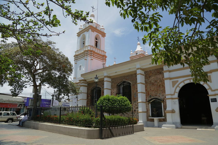 Panamá Chitré City Chitré Architecture Religion Spirituality Place Of Worship Church Sky In Front Of Outdoors Tree Built Structure Composition Contrast People City Architecture Beautiful Beautiful Sky Amazing