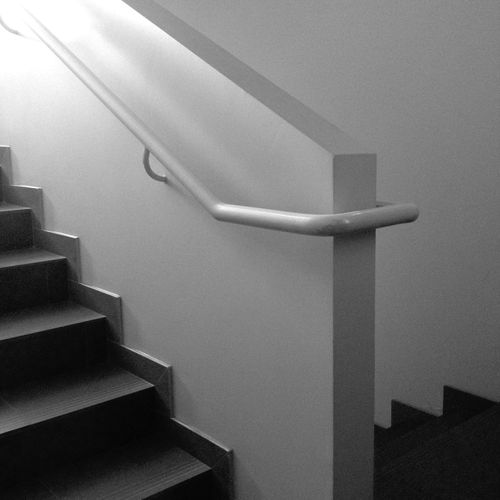 Architecture Built Structure Indoors  Low Angle View Metal Staircase Stairs Steps Steps And Staircases Wall