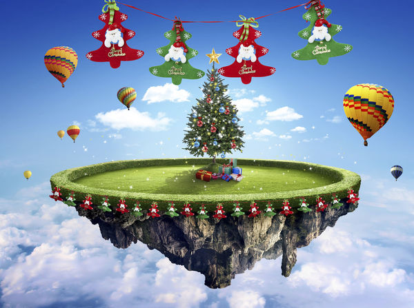 Amazing fantasy scenery with floating islands with Christmas tree, hot balloons and decoration Ballons Ballons In The Sky Beautiful Celebration Float Fun Air Anniversary Backgrounds Celebration Cloud - Sky Colorful Concept Concept Art Conceptual Cultures Day Decoration Design Dusk Fantasy Festive Fields Floating Hanging Low Angle View Multi Colored Nature No People Outdoors Sky Traditional Festival