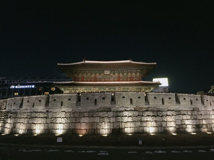 Dongdeamun Night Architecture Building Exterior Illuminated Built Structure No People Sky