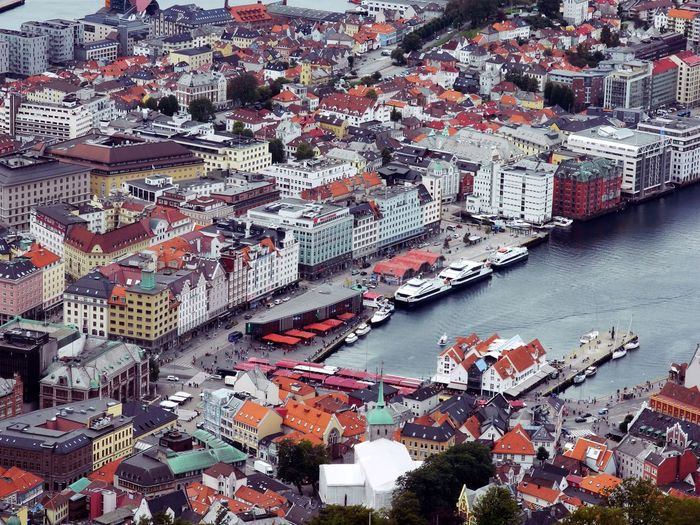 Aerial View Of Harbor In City