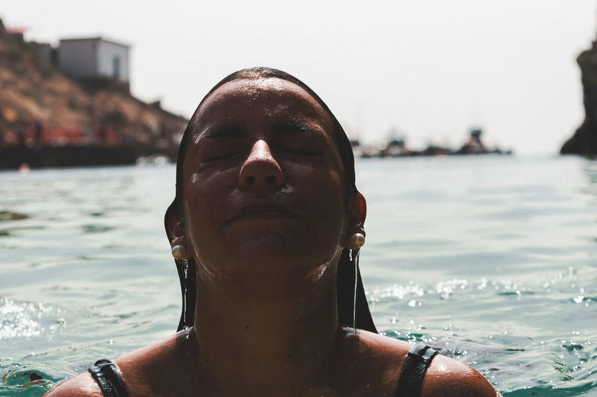 Summer In The City Close-up Day Focus On Foreground Front View Headshot Incidental People Leisure Activity Lifestyles Nature One Person Portrait Real People Swimming Water Women