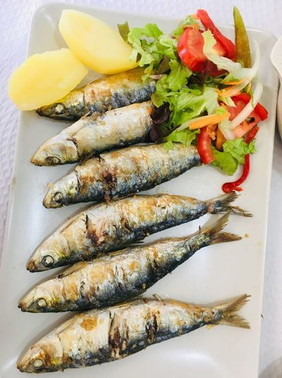 Portuguese sardines Salad Vegetable Seafood Sardines Mediterranean  Portuguese Food Portugal Freshness Close-up Table Plate