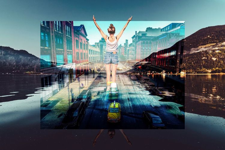 Digital composite image of man with arms outstretched standing on beach