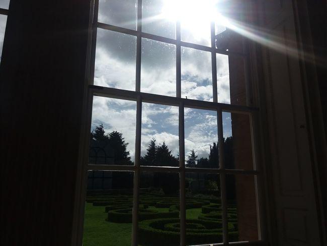 Window view Sunbeam Maze Garden Chatelherault Country Park Scotland Squares