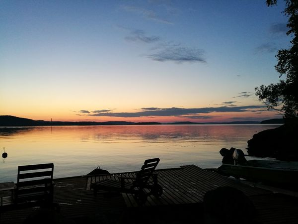 Sunset at friends summer cottage 😊 Sunset Sky Silhouette Scenics Tranquility Sea Horizon Over Water Beauty In Nature Landscape Water Nature Sun No People Outdoors Blue Clear Sky Skyporn Summer