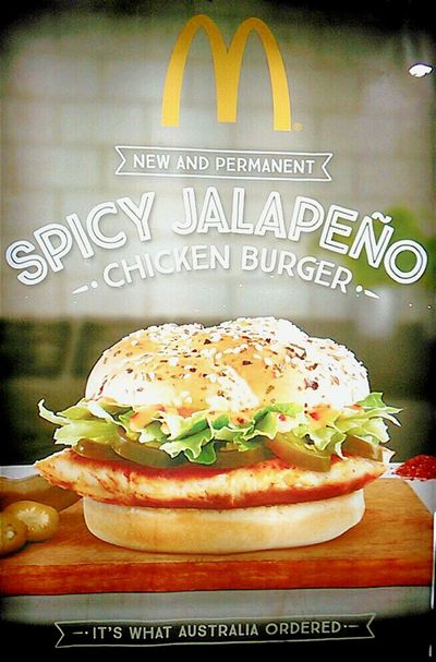 Macca's Spicy Jalapeno Mc D's The Golden Arches Chicken Burger At Mc Donalds Jalapeños Mc Donald's Billboard