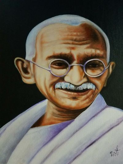 """Mahatma Gandhi, a great kind man a peacemaker a philosopher and a honorable man who brought peace and harmony in India and the world with his wisdom, he was born with nothing and he died with nothing but he will never be forgotten, he loved his people and his beloved country. You have my deepest gratitude and respect sir. Oil on canvas 16""""×20"""". Portrait Close-up A Great Honorable Man Visdom Fine Art Painting My Portrait Collection Copy Art, Drawing, Creativity Art Drawing Fine Art Painting My Art Collection Freedom Creativity Justice No Guns Save The World ✌🏻🌎🌹 Speak Up Against Injustice Friendship ❤ Love❤ Koi with My Best Friends ❤"""