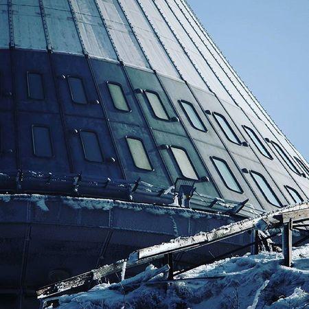 Czechrepublic Liberec Jested Tower Snow Ice Bluesky