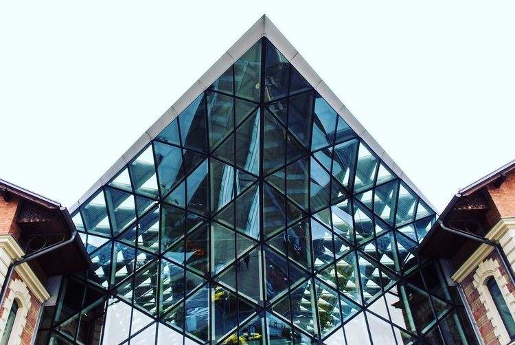 Architecture Built Structure Building Exterior Building Low Angle View City 17.62° Sky Triangle Shape Glass - Material No People Window Modern Shape Geometric Shape Pattern Roof Design Reflection