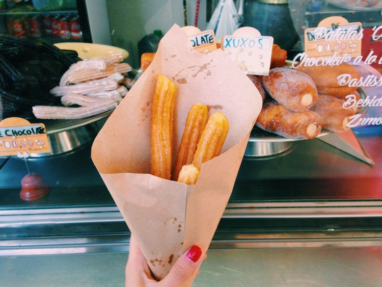 the best Street food in Barcolona//. Breakfast Churros City Life Close-up Coffee Time Colorful Eating Favorite Food Foodie Freshness Holding Life Lifestyles Love Morning Personal Perspective SPAIN Street Food Street Food Worldwide Streetphotography Sugar Sweet Traditional The Street Photographer - 2016 EyeEm Awards Your Ticket To Europe
