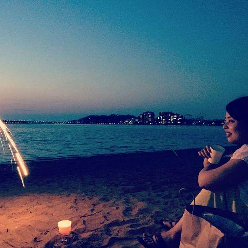 花火 海 浜辺 Seaside Cousin Fireworks もうすぐ お盆