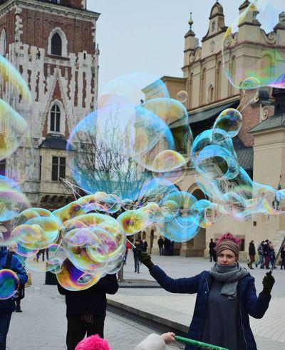 Bubbles Outdoors People Architecture Multi Colored Bubble Wand City Bubbles Bubbles In The Sky Krakow Kraków, Poland Krakow Market Square