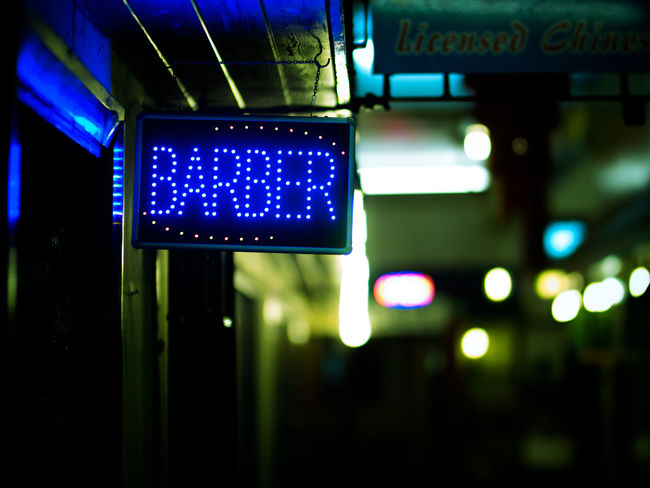 Blue Barber Barber Shop Barber Sign Barbershop Night Lights Night Photography Nightphotography Shop Sign Close-up Communication Direction Focus On Foreground Guidance Illuminated Night No People Outdoors Street Photography Streetphotography Text The Week On EyeEm