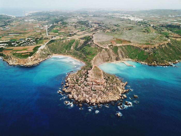 Aerial view of sea and landscape