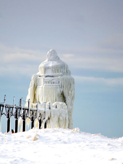 Built Structure In Snow Covered Sea