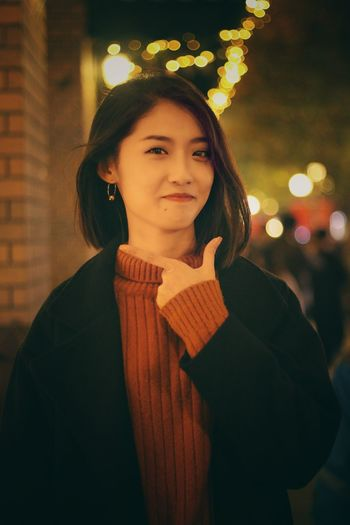 smile!try to be a pretty girl~ Night Black Hair Beauty Looking At Camera Autumn Outdoors Smiling One Person Warm Feeling Lovely Weather Likeme Photo♡ Standing Alone