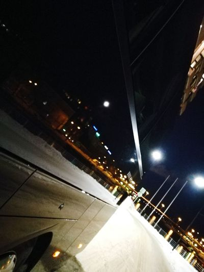 Night Transportation Illuminated Lighting Equipment Road Mode Of Transport Low Angle View No People Outdoors Sky Nightlife Moon Bus Reflection Helsinki By Night Finland
