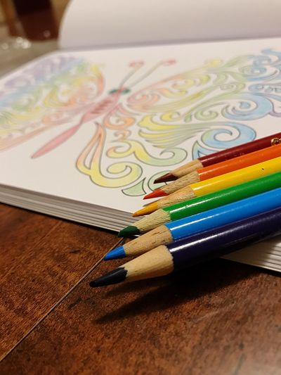 Multi Colored Art And Craft Colored Pencil Pencil Creativity Indoors  Wood - Material Rainbow Butterfly Close-up Variation No People Paper Crayon Palette Day