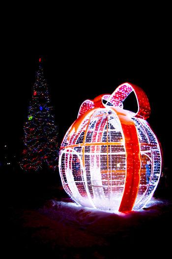 Illuminated christmas tree against black background