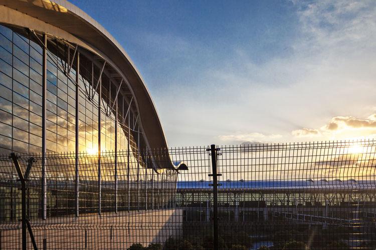 Shanghai airport at sunset
