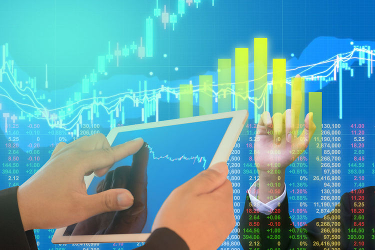 Businessman on digital stock market financial positive indicator. Double exposure of growth digital futuristic chart computer stock market financial. investor wall street digital technology Broker Currency Economy Growth Index Indicator Indicators Market Ticker Trading Bussiness Chart Commercial Computer Finance Financial Financier Fund Graph Investment Investors Marketing Profit Stock Stock Market