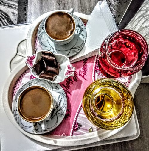 Türkkahvesi Turkhis Caffi Drink Directly Above Table High Angle View Coffee - Drink Coffee Cup Close-up