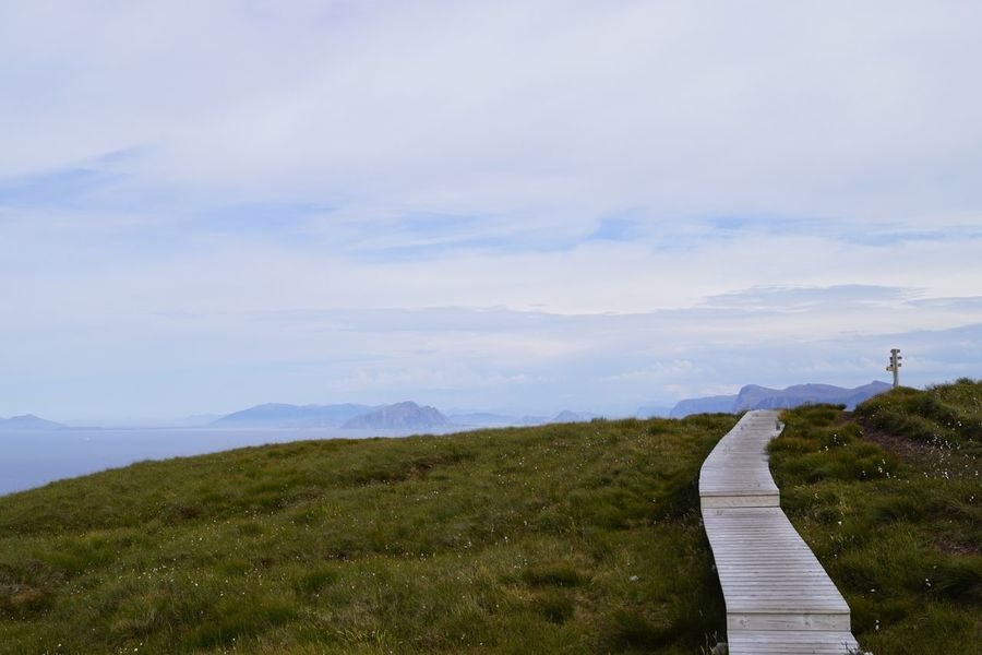 Path on Runde Ut På Tur Outdoors Island Wooden Walkway Walkway Runde Norway Cloud - Sky Sky Scenics - Nature Plant Beauty In Nature Tranquility Tranquil Scene Landscape Grass The Way Forward Nature