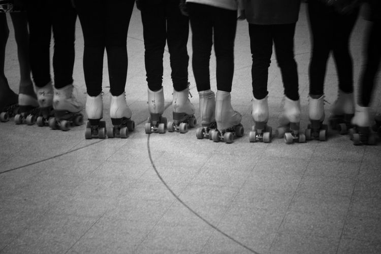 Indoors  Large Group Of People Low Section People Locker Room Rollerskating Skating Rows Of Things Rows Of Skates Passion Kids Monochrome Photography Foot Feet