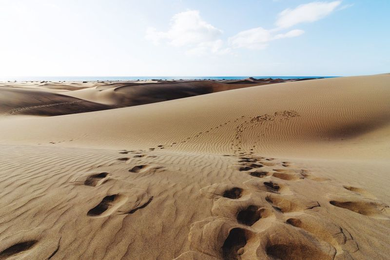Gran Canaria Travel Sky Sand Hot Day Feet Print In The Sand