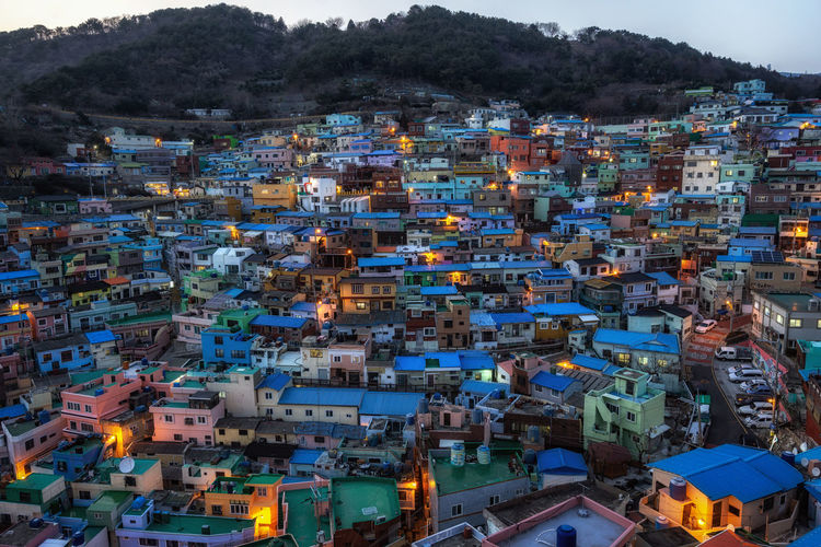 Night light during blue hours in Gamcheon cultural village in Busan, South Korea. The famous tourist attraction is consist of small colorful houses built on staircase like hilltops. Building Exterior Built Structure Residential District Building High Angle View City Cityscape Crowded Nature Community Outdoors Day House Roof Town Illuminated Settlement Busan Korea Korean ASIA Gamcheon Culture Village Gamcheon Gamcheon Cultural Village