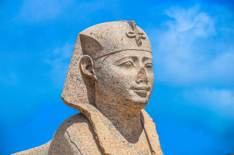 Egypt Ancient Ancient Civilization Art And Craft Blue Close-up Day History Human Representation Low Angle View No People Outdoors Religion Sculpture Sky Spirituality Statue Travel Destinations An Eye For Travel
