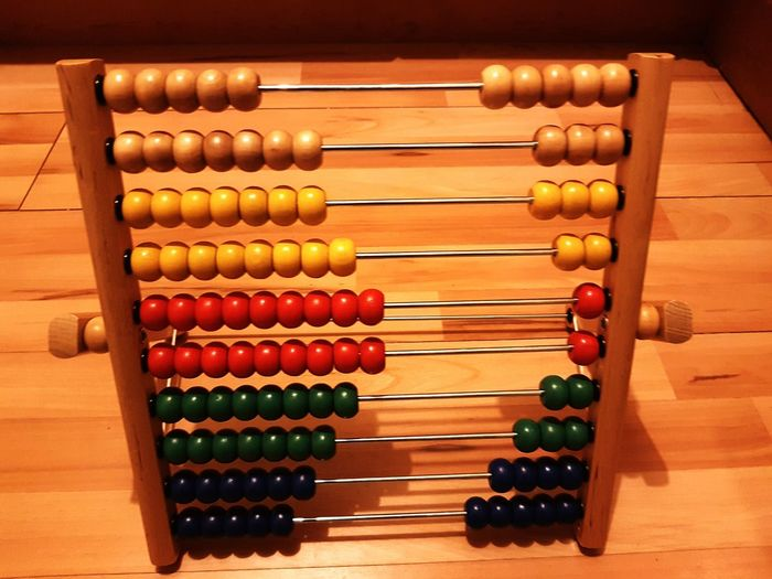 High Angle View Of Abacus On Table
